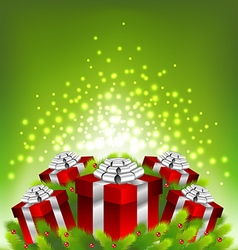 Abstract light on red gift box for Christmas vector image