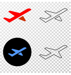 Airplane takeoff eps icon with contour vector