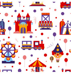 amusement park seamless pattern childish style vector image