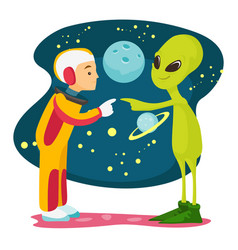 Astronaut and alien meet for the first time vector
