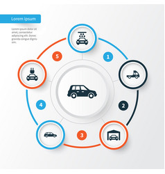 Automobile icons set collection of plug vector