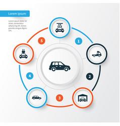 Automobile icons set collection plug vector