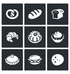 Bakery and fast food icon set vector