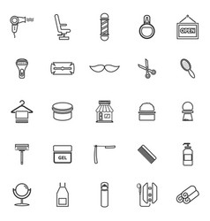 Barber line icons on white background vector