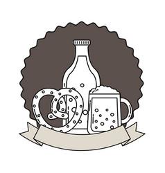 beer bottle glass and pretzel oktoberfest emblem vector image