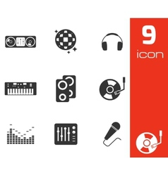 Black dj icons set vector