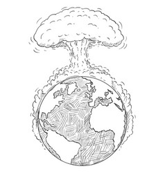 Cartoon drawing world destroyed nuclear vector
