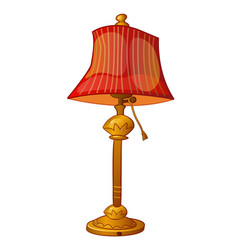 Cartoon floor lamp with red shade in vintage style vector