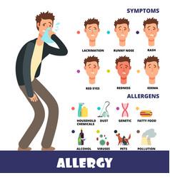 Cartoon stye allergy infographics vector