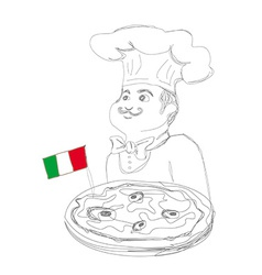 chef with pizza and Italian flag - doodle vector image