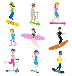 Children and parents go in for sports together vector