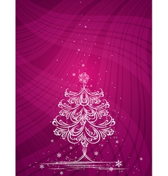 christmas tree on the purple background vector image