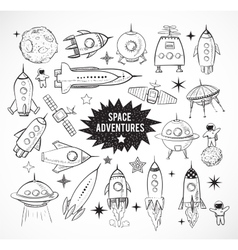 Collection sketchy space objects vector