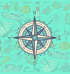 Colored and sketched compass vector
