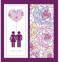 colorful line art flowers couple in love vector image