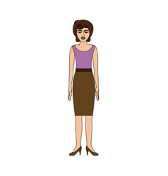 Colorful silhouette of woman with blouse and skirt vector