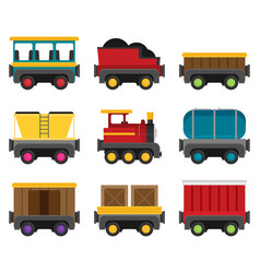 colorful wagons for a train flat style set vector image