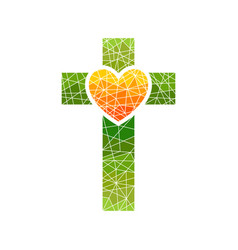 Cross of jesus and heart mosaic vector