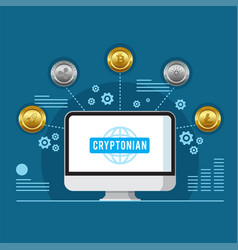 cryptonian currency concept computer blue backgrou vector image