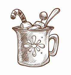 Cup of warm chocolate with marshmallow and candy vector