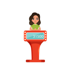 cute girl taking part at quiz show young player vector image