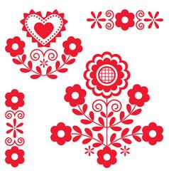 Cute polish floral folk art design elements vector
