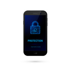 cyber security system concept mobile phone with vector image