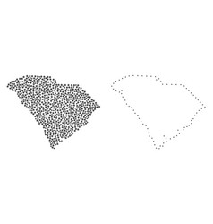 dotted contour map of south carolina state vector image