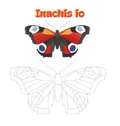 Educational game connect dots to draw butterfly vector