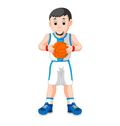 Energetic young man playing basketball vector