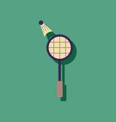 Flat icon design kids badminton in sticker style vector