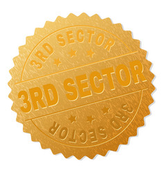 Gold 3rd sector medal stamp vector