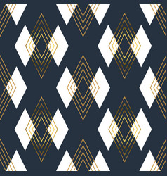 gold art deco line rhombus seamless pattern vector image