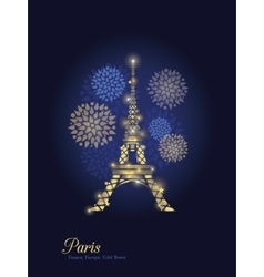 Golden Glowing Eiffel Tower Surrounded By vector image