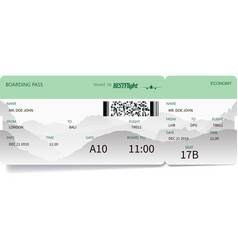 Green pattern of airline boarding pass ticket vector