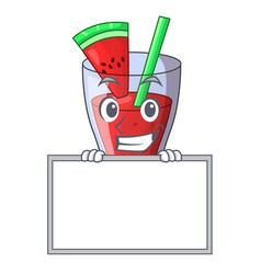 Grinning with board character tasty beverage fruit vector