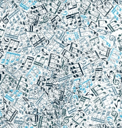 Grunge old music background with notes vector image