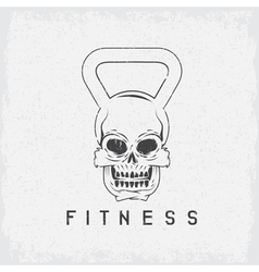 Grunge skull in the form of kettlebell fitness vector