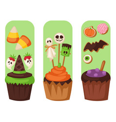 Halloween cookie food cards night cake party vector