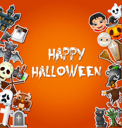 Happy halloween card celebrations and character st vector