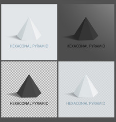 Hexagonal pyramid on dark light and transparent vector
