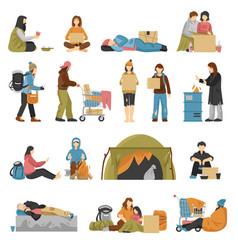 Homeless people set vector