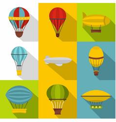 hot air balloon icon set flat style vector image