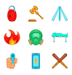 Illegal action icons set cartoon style vector