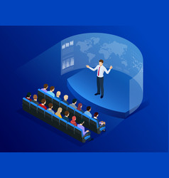 Isometric people in front of the screen for data vector