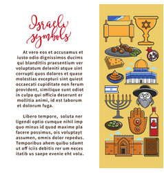 Israeli national symbols promo poster with sample vector