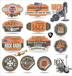 Jazz and rock music stamps and labels vector image