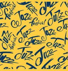 Jazz brush pen lettering seamless pattern vector