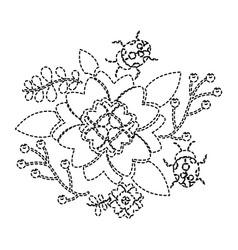 ladybugs in the garden flower spring branch vector image
