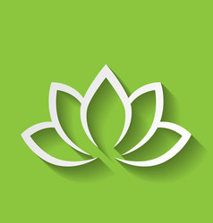 lotus flower icon on green gradient background vector image